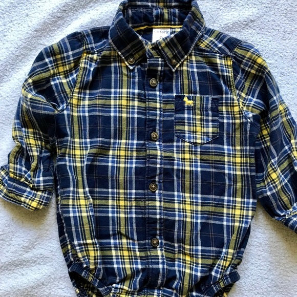 47f671f85 Carter's One Pieces | Carters Baby Boy Flannel Onesie Long Sleeved ...